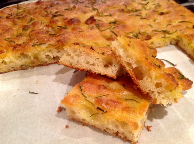 Roasted garlic, rosemary & Parmesan focaccia