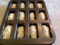 (IV) Pop into mini loaf tins, prove & bake