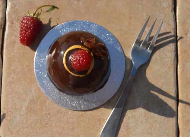 Raspberry & chocolate mousse domes