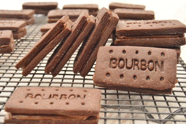 Home-made Bourbon biscuits with caramelised sugar and mocha ganache