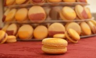Part of a macaron tower: white choc flavour and caramelised blood orange & cranberry flavour