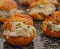Warm crab choux bites