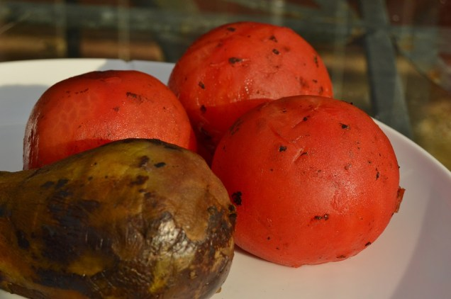 blowtorched and peeled tomatoes and aubergines