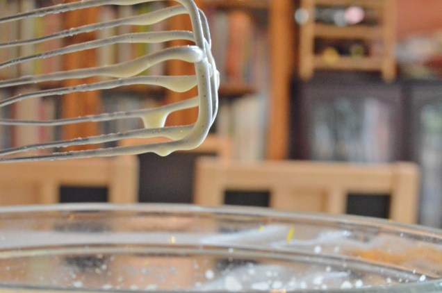 whisked until thick - the mixture very slowly drops off the whisk