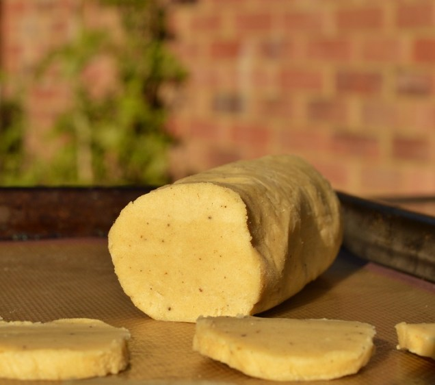 cylinder of coffee shortbread dough for slicing