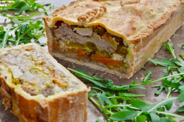 Pork pie with apple and apricots