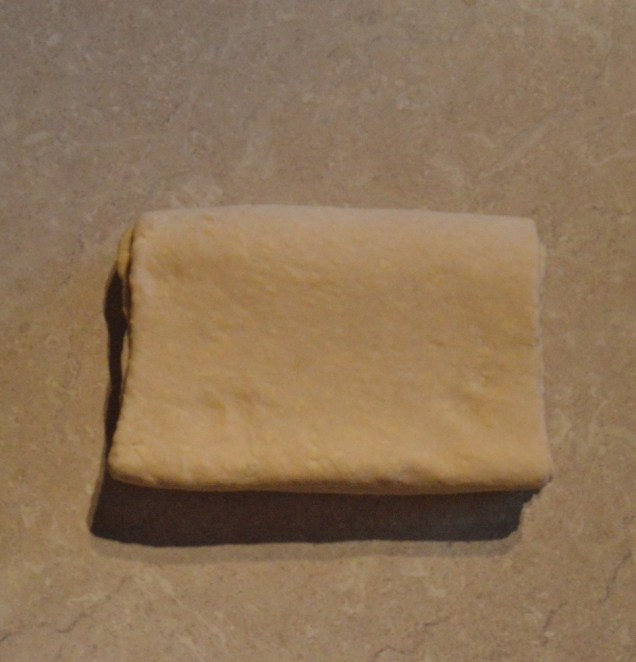 (III) Fold dough in half at the join