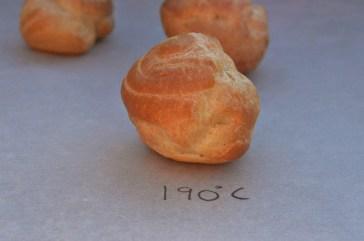 Choux pastry at 190C: excellent rise, crisp