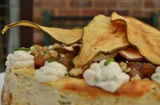 Gorgonzola, pear and walnut cheesecake