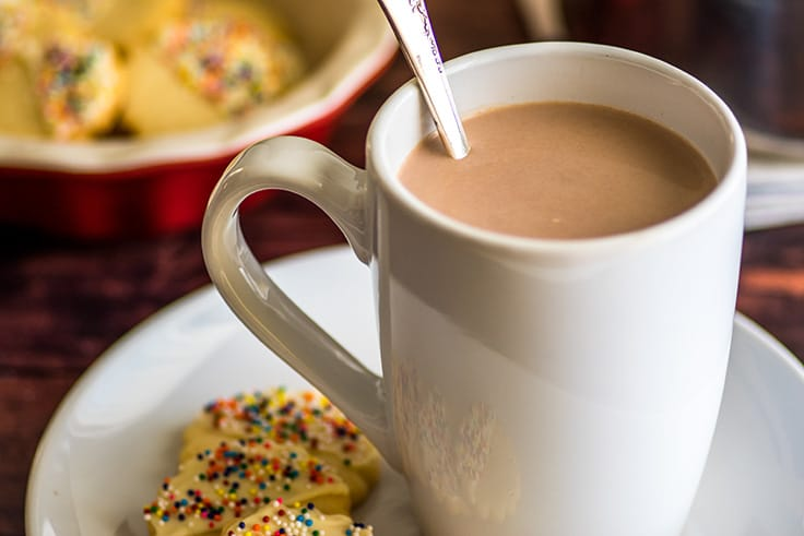 Homemade hot cocoa in a mug on a plate with shortbread cookies.