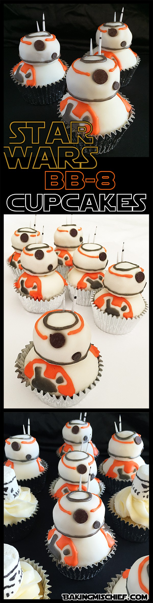 These are the droids you're looking for! Adorable and easy(ish) Star Wars BB-8 cupcakes that anyone can make.