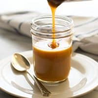 Quick and easy shortcut 5 minute caramel sauce! From BakingMischief.com