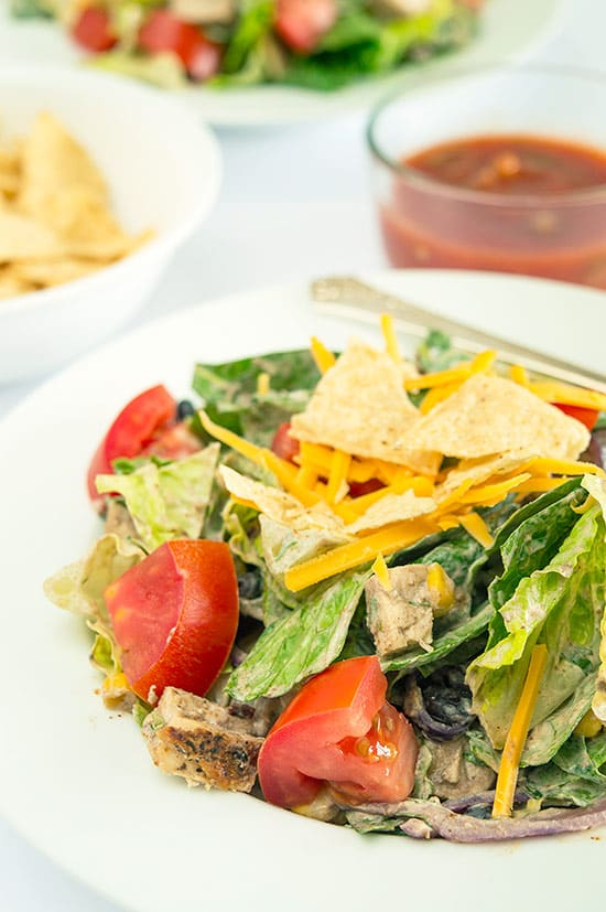 A slightly spicy chicken salad packed with black beans, corn, red onions, and cheese and topped with a chipotle cilantro sour cream dressing. This salad can easily be made burn-your-taste-buds-off-spicy if you are one of those... Recipe includes nutritional information, small-yield, make-ahead, and freezer instructions. From BakingMischief.com
