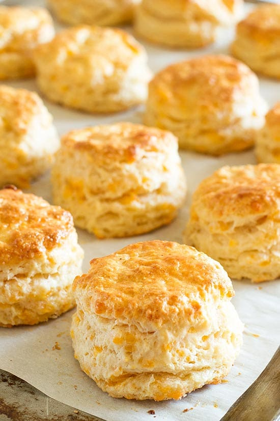 Cheddar Cheese Scones on parchment paper.