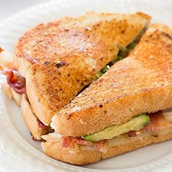 Spicy Chicken Bacon Avocado Grilled Cheese Sandwich