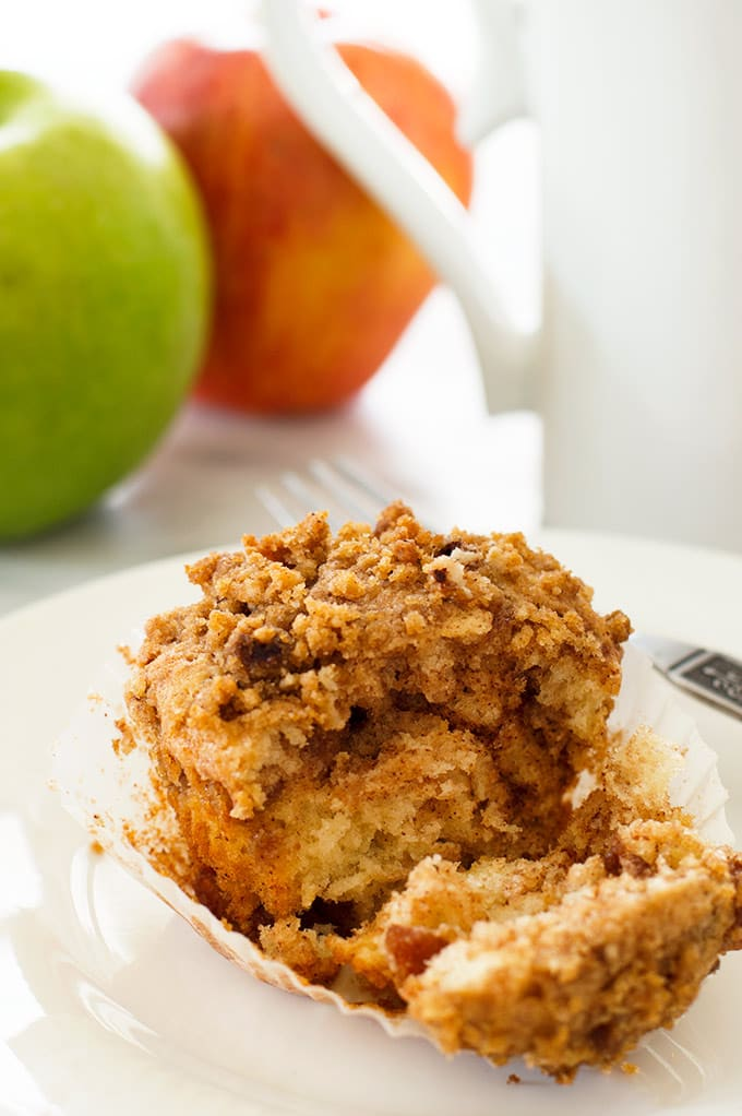Apple crumb muffin split in two.