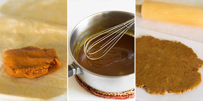 Collage of pumpkin puree being made into pumpkin shortbread cookies.