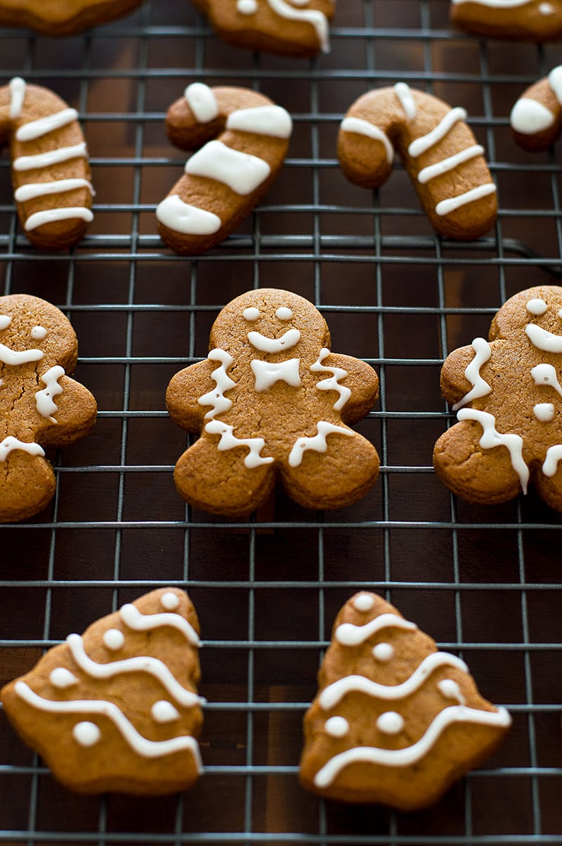 Small-batch gingerbread cookies on a baking rack.