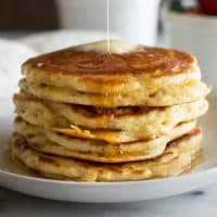 Fluffy buttermilk pancakes for two might just be the perfect breakfast. From BakingMischief.com