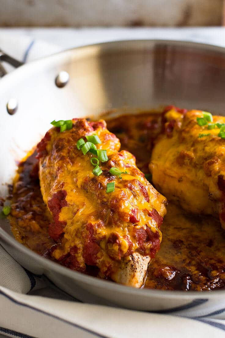 Salsa chicken in a skillet.