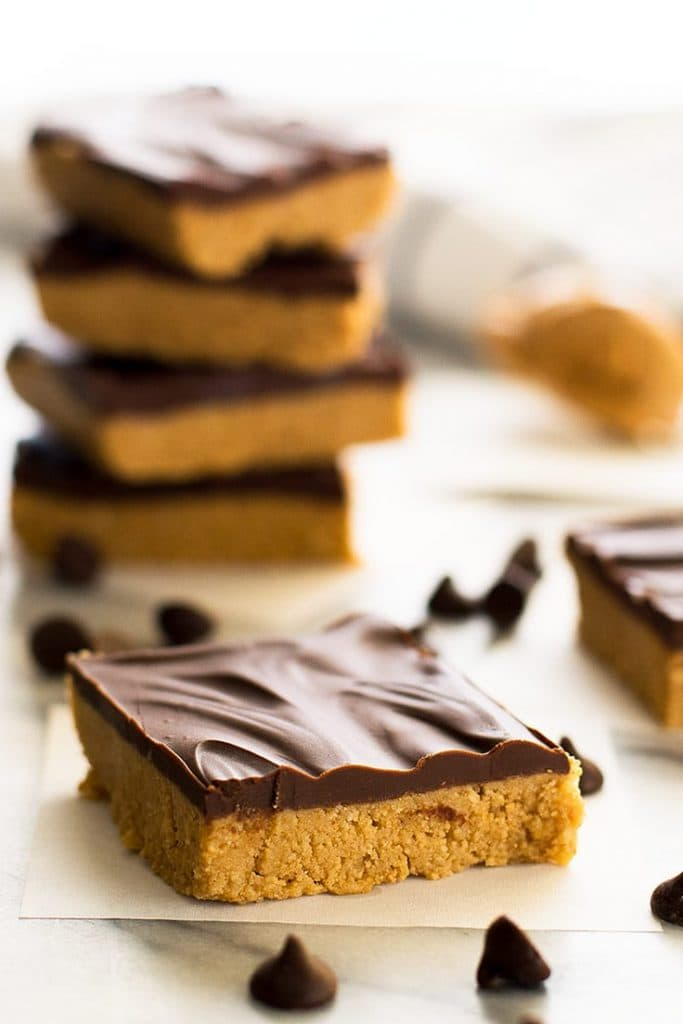 Photo of peanut butter bars cut into squares.