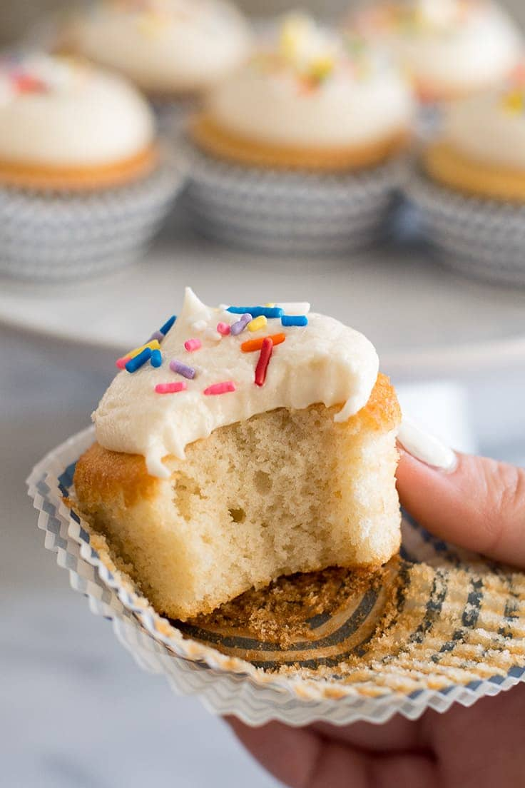 These small-batch vanilla cupcakes are soft, moist, and completely delicious!