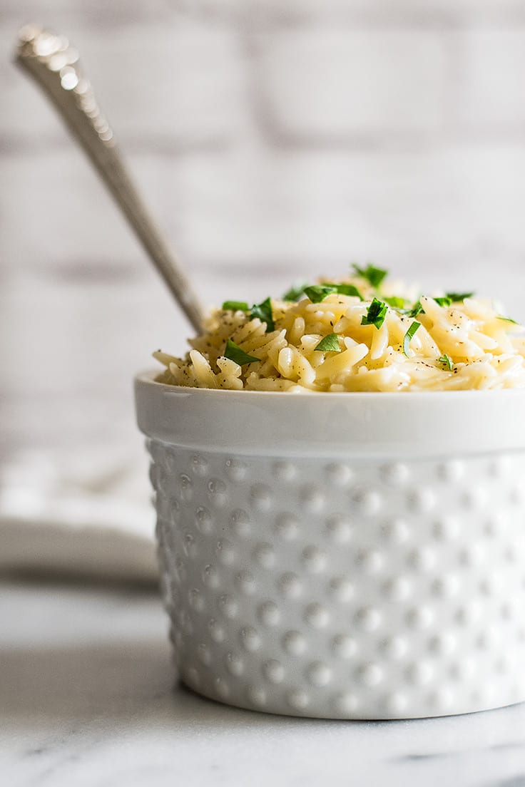 This Parmesan Orzo side dish couldn't be quicker or easier to make. | Sides for Two | Easy Sides | Pasta Side Dish |