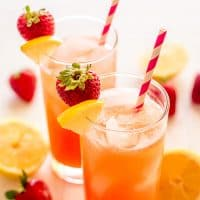 Sip your way into summer with this Homemade Strawberry Lemonade for Two. Easy to make and perfectly pink with just four ingredients! | Summer Recipes | Recipes for Two |
