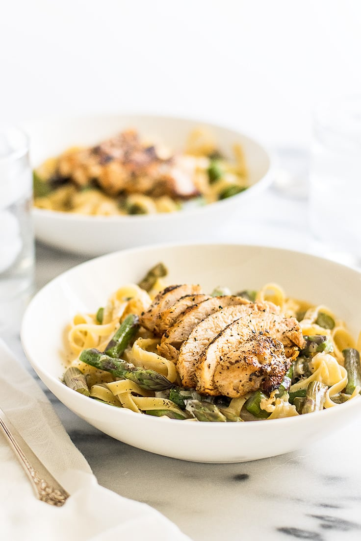 If you need an easy spring pasta, try this Creamy Chicken and Asparagus Pasta for two! | Recipe for Two | Dinner for Two | Easy Pasta |