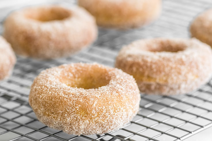 Image of Cinnamon Sugar Baked Pumpkin Donuts sitting on a wire rack.