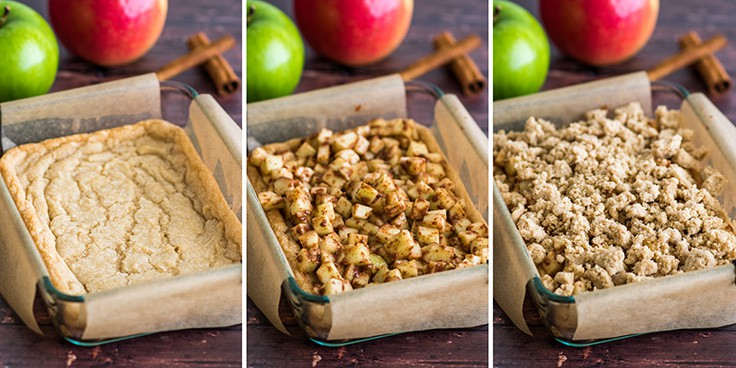 Collage photo of apple pie bars being assembled.