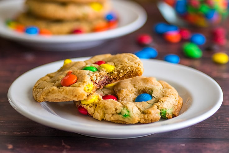 These Small-batch M&M cookies are packed full of M&Ms, and come out chewy at the centers, a little crunchy around the edges and pretty darn perfect. | #cookies | #desserts | small-batch desserts |
