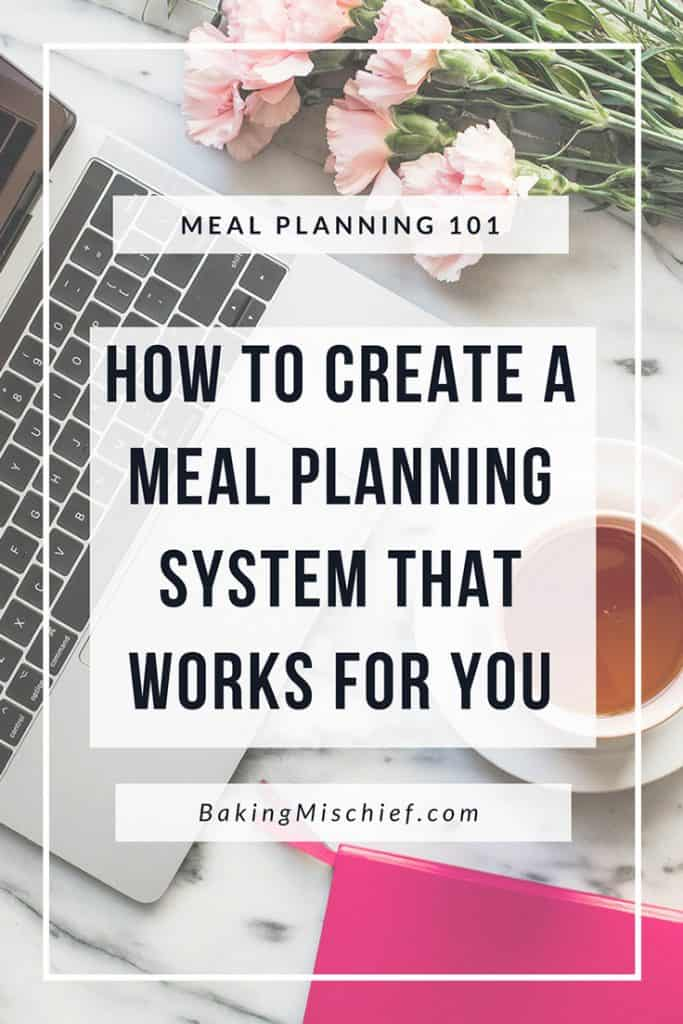 Meal Planning 101 graphic reading How to create a meal planning system that works for you.