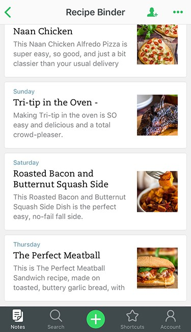 Meal Planning 101 image, screenshot of Evernote recipe book.