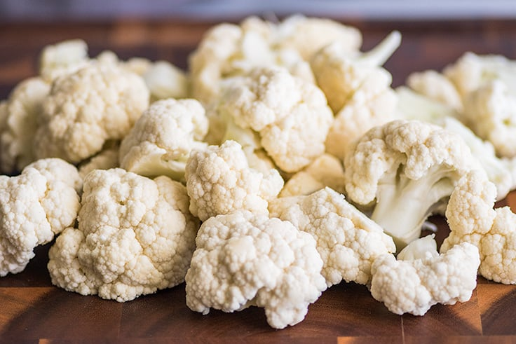 How to Steam Cauliflower in the Microwave step one photo of chopped cauliflower.