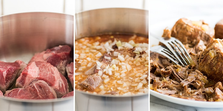 Photo collage of carnitas recipe steps, browning, braising, and shredding.