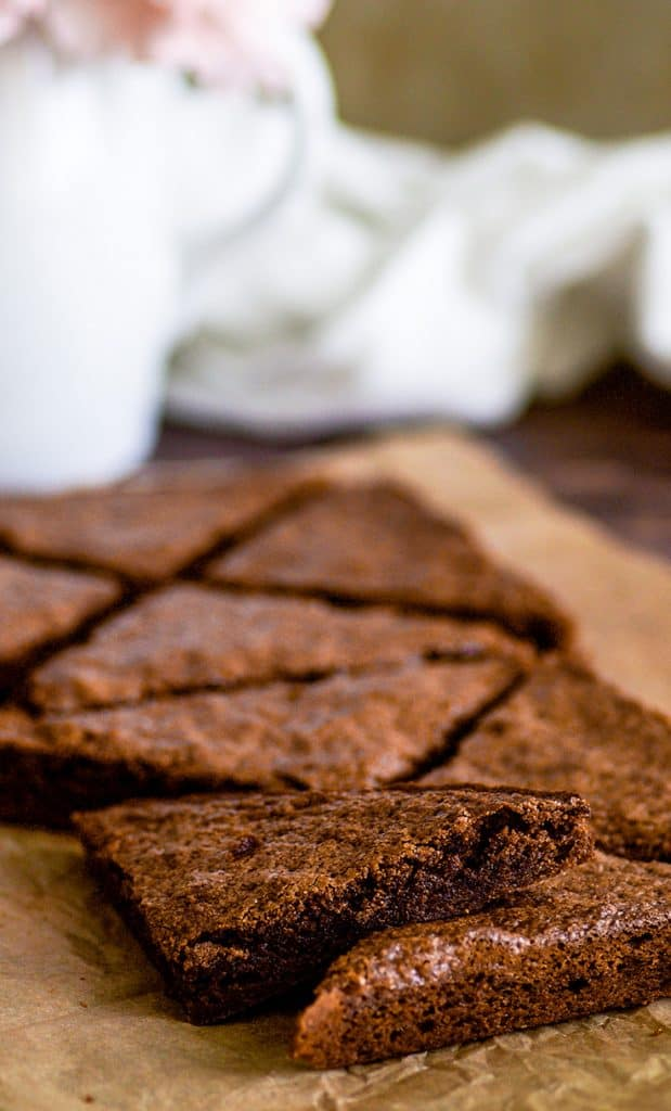 Picture of small-batch brownies cut into triangles.