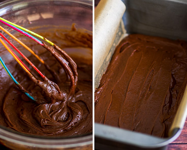 Photo of small-batch brownie batter mixed and in a loaf pan.