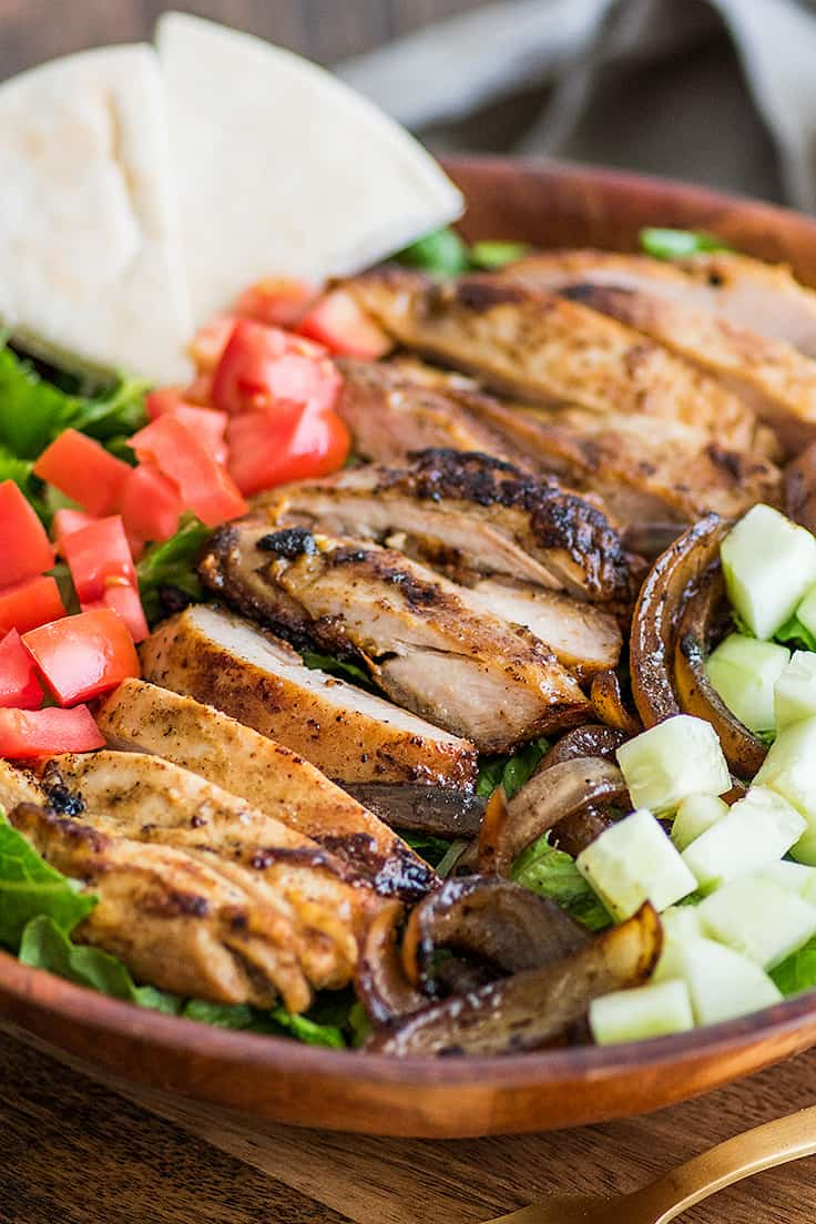 Chicken Shawarma Salad in a wooden bowl.