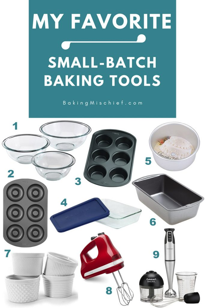Collage of small-batch baking tools with text: My Favorite Small-batch Baking Tools.
