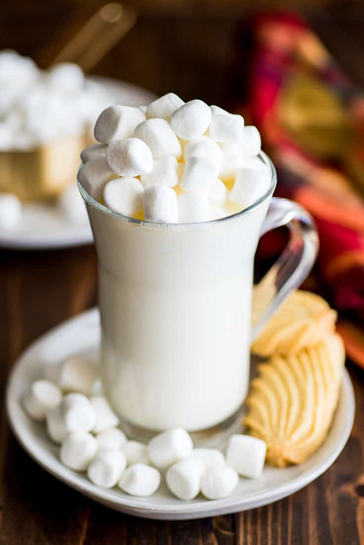 Photo of White Hot Chocolate topped with marshmallows.