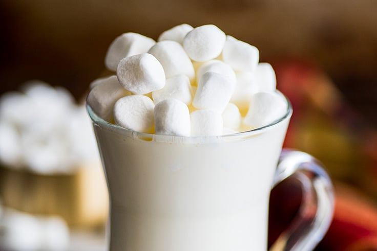 Close up photo of White Hot Chocolate with marshmallows.