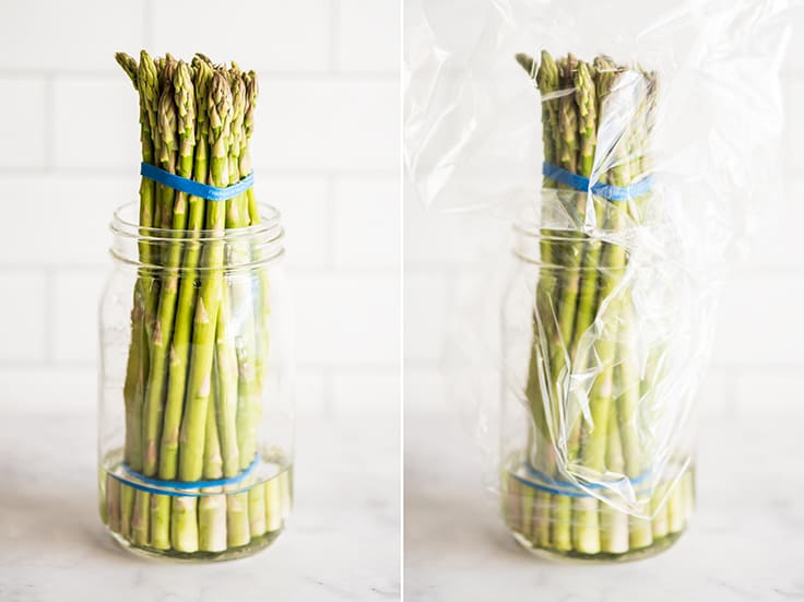 Collage photo showing how to store asparagus.