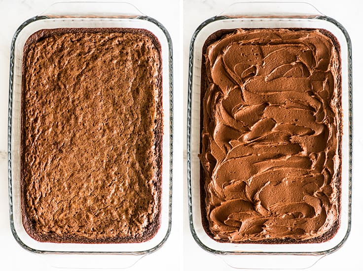 Overhead collage photo of brownies before and after frosting.
