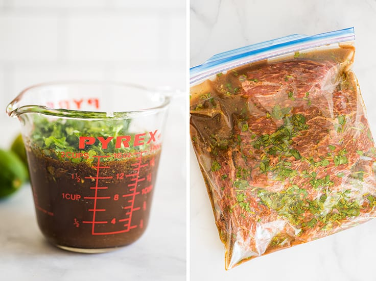 Collage photo of carne asada marinade recipe in a measuring cup and in a plastic bag.