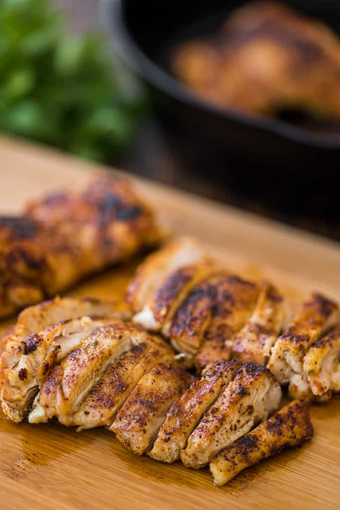 Sliced chicken thighs for chicken fajitas.