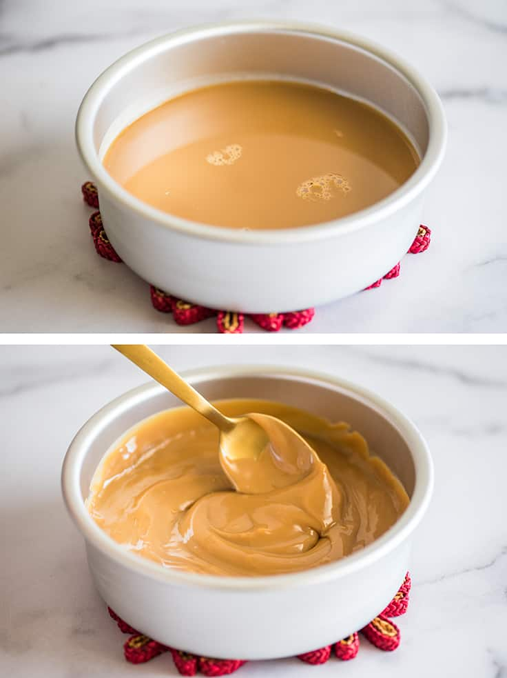Collage photo of dulce de leche made in the oven in cake pans.