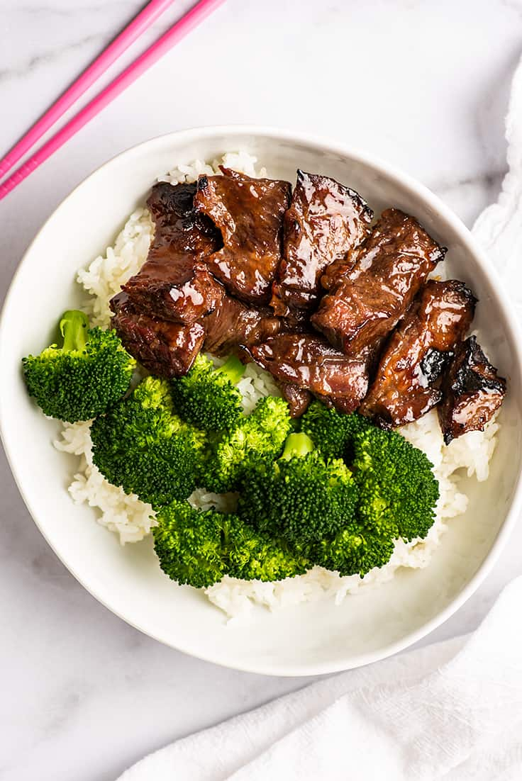 Overhead photo of Beef Teriyaki in a bowl with rice.
