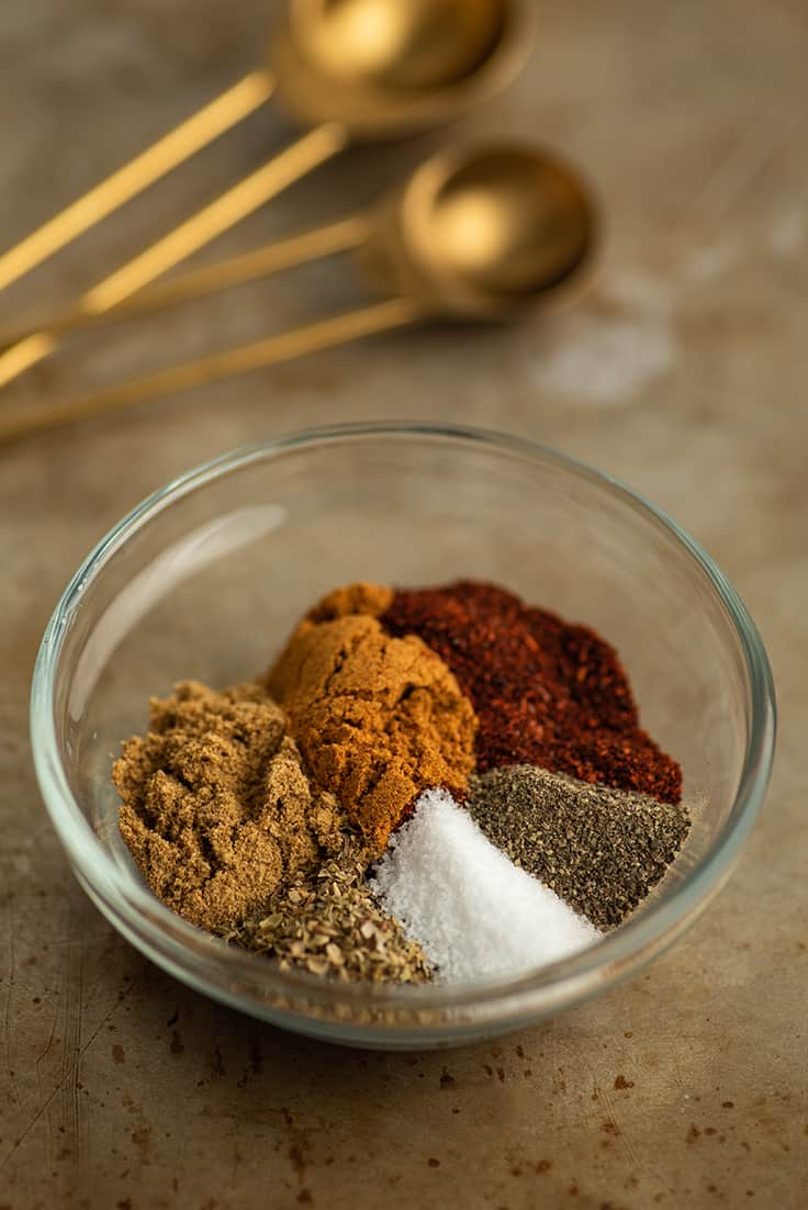 Spices for homemade taco seasoning in a bowl.