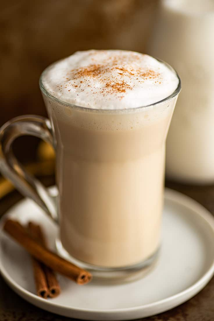 Photo of a chai latte in a mug.